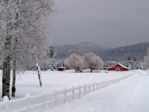 Snowy Entrance to the Horse Ranch Royalty Free Stock Photo