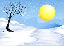Snowy evening. Illustration of a snowy evening Stock Photo