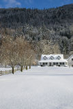 Snowy Farm House Royalty Free Stock Photo