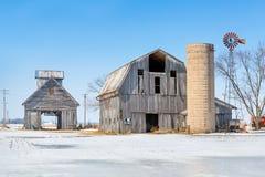 Snowy Farm Scene Stock Photo