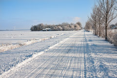 Snowy farmland in the Netherlands Stock Image