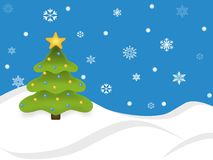 Snowy-Feiertags-Baum-Szene Stockfotografie