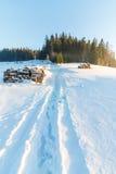 Snowy-Feld, Zakopane, Polen Stockbilder