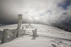 Snowy-Felder, Winter in den Vosges, Frankreich Lizenzfreies Stockbild