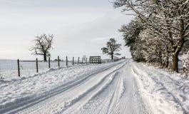Snowy-Feldweg in Cumbria Lizenzfreies Stockfoto