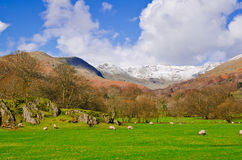 Snowy Fells. View over the fells from rothy park in Ambleside Royalty Free Stock Image