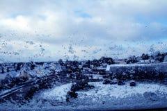 Snowy-Fenster Stockbilder