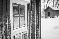Snowy-Fenster Lizenzfreies Stockfoto