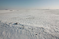 Snowy field. In Aisne,Picardy region of France Stock Photo