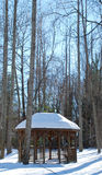 Snowy Field with a Gazebo Royalty Free Stock Image