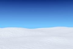 Snowy field under blue sky. White snowy field under bright clear winter blue sky, winter snow background 3d illustration Stock Image