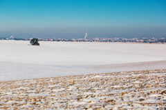 Snowy fields under a blue sky. White snowy fields under a blue sky Royalty Free Stock Photo