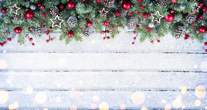 Snowy Fir Branches With Christmas Ornament Royalty Free Stock Photography