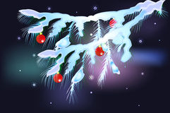 Snowy fir branches with red balls. EPS10 vector. Illustration Stock Image