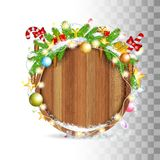 Snowy fir tree branch with cones, balls, candy and gerland lay on top of round wood border. Christmas illustration stock illustration