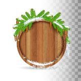 Snowy fir tree branch with cones lay on top of round wood border. Christmas illustration on white royalty free illustration