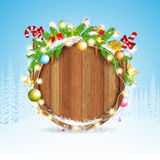 Snowy fir tree branch cones and presents on round wood border. winter christmas background vector illustration