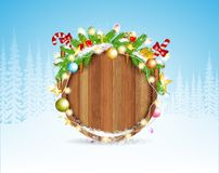 Snowy fir tree branch cones and presents on round wood border. Winter forest christmas background royalty free illustration