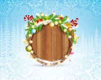 Snowy fir tree branch cones and presents on round wood border. Winter forest christmas horizontal background. With snowflakes stock illustration