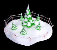 Snowy Firs. Stylized cartoon 3d fir tree group, isolated Stock Photos