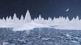 Snowy firs and frozen lake at winter night. Decorative winter landscape with frosty fir trees and frozen lake at snowfall night with a half moon. 3D illustration Stock Photos