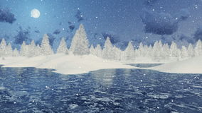Snowy firs and frozen lake at winter night. Winter scenery with frozen lake and snowy fir trees among snowdrifts at snowfall night with full moon. Decorative 3D stock video