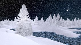 Snowy firs and frozen river at snowfall night. Dreamlike winter scenery with snowy fir trees and frozen river at snowfall night with a crescent in the sky Royalty Free Stock Images