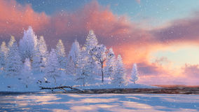 Snowy firs and frozen river at snowfall stock illustration