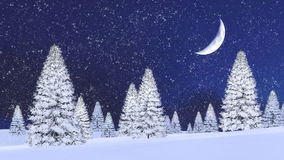 Snowy firs and half moon at snowfall night. Fairytale winter scenery with snowy firs among snowdrifts and fantastic big half moon in night sky at snowfall. 3D Royalty Free Stock Images