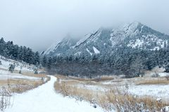 Snowy Flatiron Mountains Stock Photo