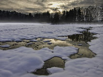 Snowy and flooded winter landscape. Black and white snowy and flooded winter landscape Royalty Free Stock Photography