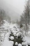 Snowy-Fluss in Wintertraurigkeitslokalisierung und in Kälte a Lizenzfreie Stockfotografie