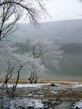 Snowy-Flussufer von Duna-Fluss Ungarn Lizenzfreie Stockfotos