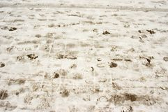 Snowy footpath, human foot prints. Snowy footpath with traces of human foot prints stock photos