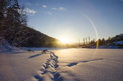 Snowy footprints. The chain of snowy footprints going to the sun rising over the mountain Royalty Free Stock Photo
