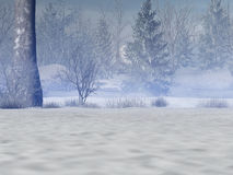 Snowy Forest. Renderedmystical and snowy forest Stock Image