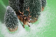 Snowy forest firs and reindeer green Stock Photography