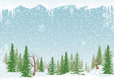 Snowy forest landscape. Green, snowy forest with fir-trees and snowflakes royalty free illustration