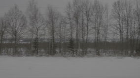 Snowy forest next to railway stock video footage