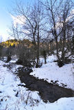 Snowy forest and river at Pavliani village Phthiotis Central Greece Stock Photos