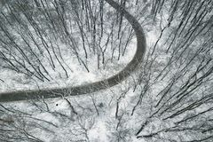 Snowy forest with a road. Aerial view. Winter Forest Aerial Royalty Free Stock Images