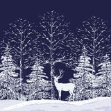 Snowy forest. Vector silhouettes of snowy trees and fir trees in the forest and reindeer on a dark blue background Royalty Free Stock Photos