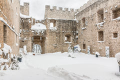 Snowy fortress of Campobasso Royalty Free Stock Photo