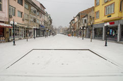 Snowy fountain on the main street of Pomorie in Bulgaria Royalty Free Stock Images