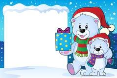 Snowy frame with Christmas bears Stock Photography