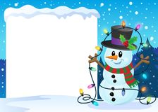 Snowy frame with Christmas snowman 2. Eps10 vector illustration Royalty Free Stock Photo