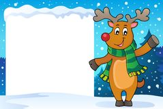 Snowy frame with stylized Christmas deer Royalty Free Stock Photo