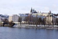 Snowy freeze Prague Lesser Town with gothic Castle, Czech republic Stock Image