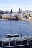 Snowy freeze Prague Lesser Town with gothic Castle, Czech republic Royalty Free Stock Images