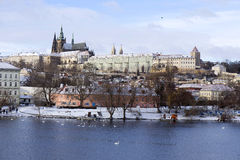 Snowy freeze Prague Lesser Town with gothic Castle, Czech republic Royalty Free Stock Photography
